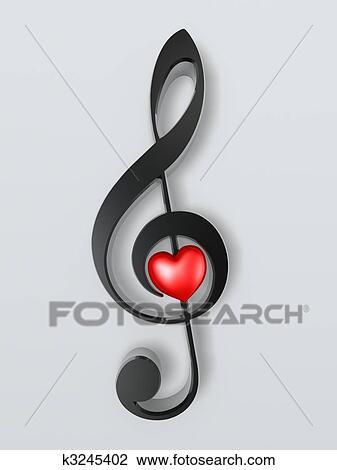 Simbolo Musica E Coracao Desenho K3245402 Fotosearch