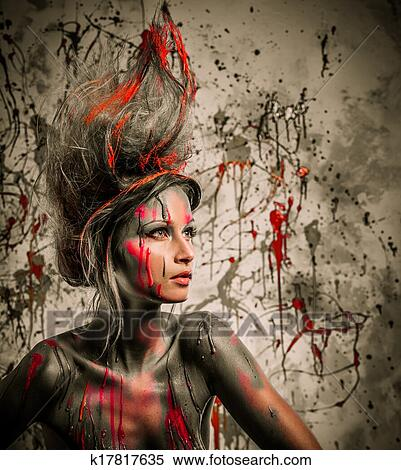 Young Woman Muse With Creative Body Art And Hairdo Stock Photography K17817635 Fotosearch
