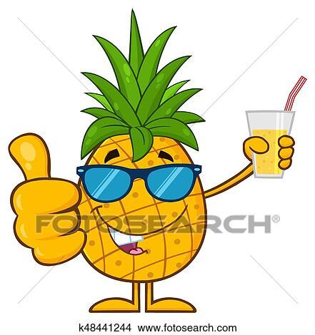 à et lunettes fruit Clipart ananas feuilles pousse vert Tzv7zwqx