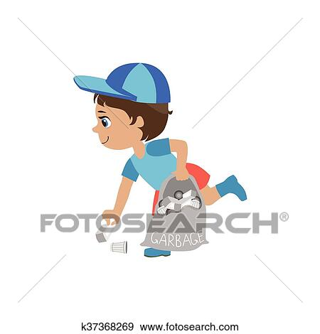 Boy with the black hair is sweeping the trash Vector Image