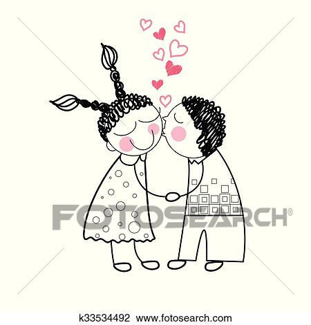 Clipart Of Couple Kiss Red Heart Shape Love Holding Hands Drawing