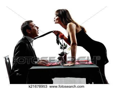 Stock Photo Of Couples Lovers Dating Dinner Silhouettes K21678953