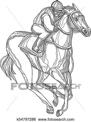 Courses chevaux jockey griffonnage art clipart k54797286 fotosearch - Mandala de chevaux ...