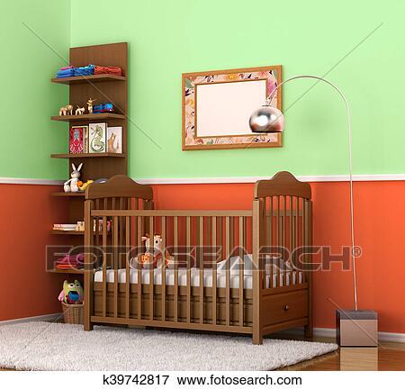Colección de ilustraciones - interior, es, moderno, la habitación de ...