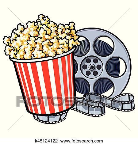 clipart kino gegenst nde popcorn eimer und retro stil spule super 8 k45124122 suche. Black Bedroom Furniture Sets. Home Design Ideas