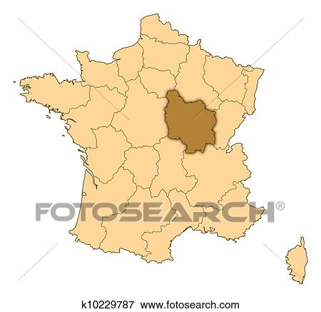 Map Of France Burgundy Highlighted Stock Illustration K10229787