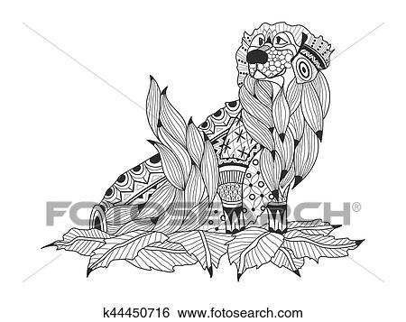Clip Art - perro labrador, en, el, hojas, libro colorear, para ...