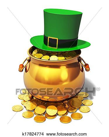 drawings of pot of gold and green leprechaun hat k17824774 search