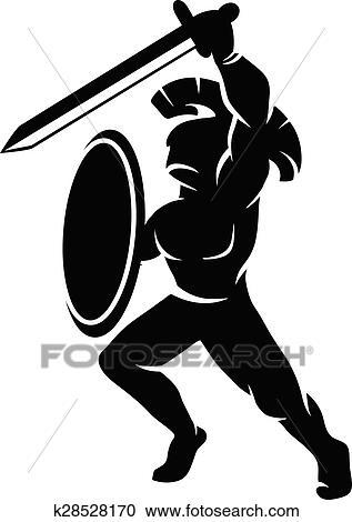 clipart of roman soldier silhouette k28528170 search clip art