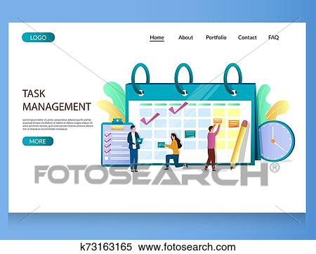Task management vector website landing page design template