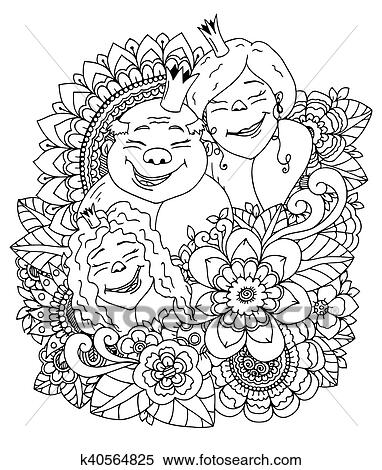 Clipart - vector, ilustración, zentangl, el, real, familia, en, un ...