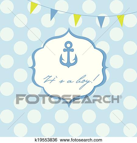 Baby Boy Shower Card With Cute Anchor On Seamless Polka Dots Clip Art K19553836 Fotosearch