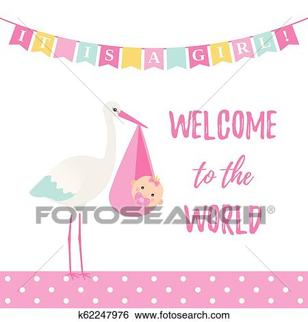 Baby Shower Girl Card Vector Illustration Pink Banner With Stork Clip Art K62247976 Fotosearch