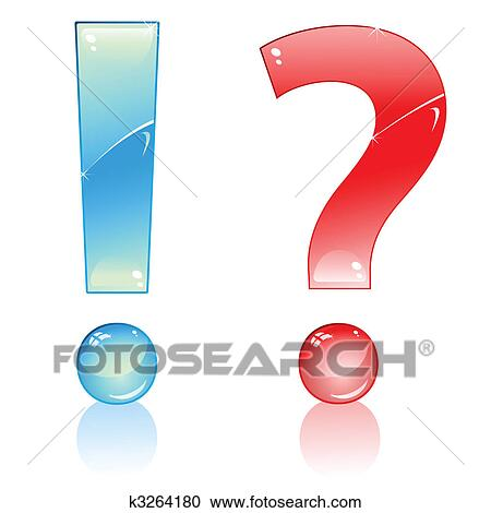 Blue Exclamation And Red Interrogation Marks Clipart K3264180 Fotosearch