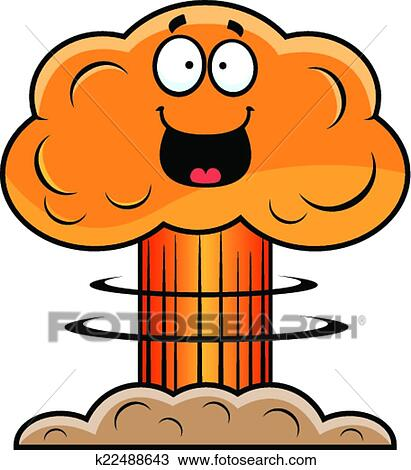 clipart of cartoon mushroom cloud happy k22488643 search clip art rh fotosearch com Mushroom Cloud Drawing Mushroom Cloud Explosion