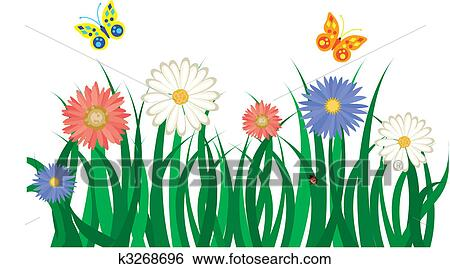 Grass and flowers background Natural Beauty Clip Art Floral Background With Grass Flowers And Butterflies Vector Illustration Fotosearch Fotosearch Clip Art Of Floral Background With Grass Flowers And Butterflies