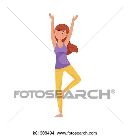 young woman standing in yoga pose to reduce stress vector