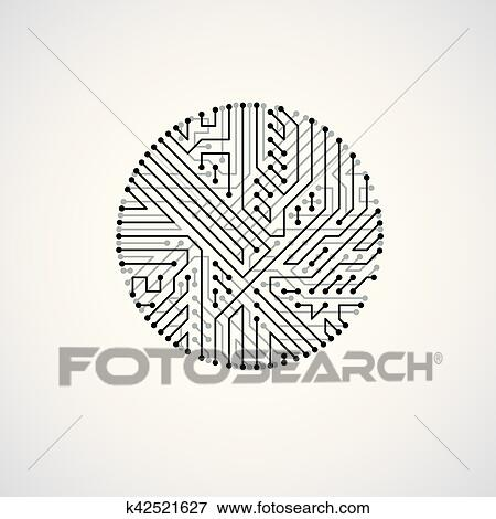 clip art of futuristic cybernetic scheme vector motherboard black