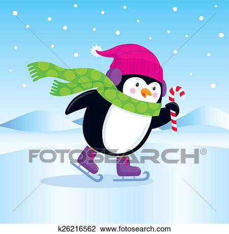 clip art of ice skating penguin k26216562 search clipart  illustration posters  drawings  and Christmas Penguin Ice Skating Penquin