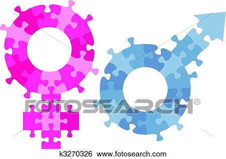 A Couple Of Male Female Gender Sex Symbols As Red And Blue Jigsaw Puzzle Pieces