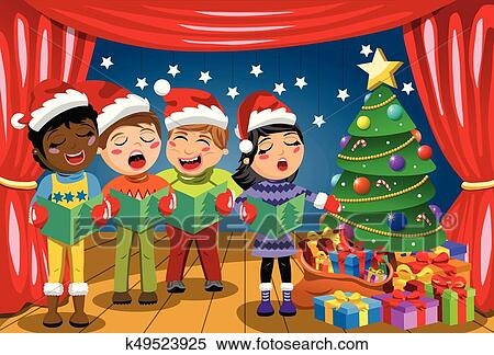 Christmas Singin.Multicultural Kids Wearing Xmas Hat Singing Christmas Carol Nativity Play Stage Clipart