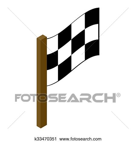 clipart of racing flag isometric 3d icon k33470351 search clip art rh fotosearch com racing flag clipart png racing flag clipart free
