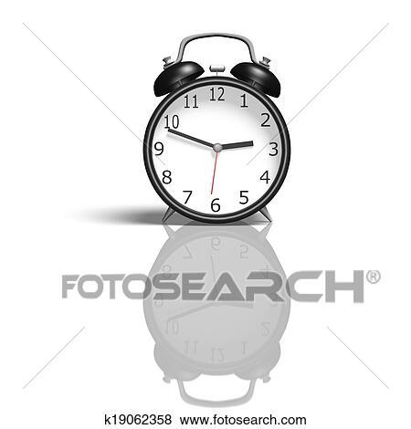 Retro Alarm Clock Showing One Hour Stock Illustration