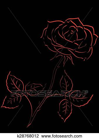 Rosso Contorno Di Rosa Fiore Sopra Nero Clipart K28768012