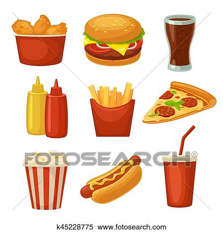 Clipart Of Set Fast Food Icon Cup Cola Chips Burrito Hamburger