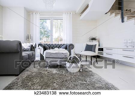 Beelden - witte, woonkamer, met, grijze, banken k23483138 - Zoek ...