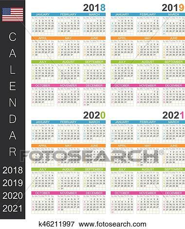 Calendrier 2018_2021 Calendrier, 2018 2021 Clipart | k46211997 | Fotosearch