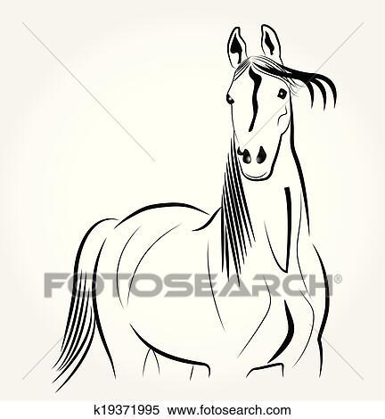 Cavallo stilizzato ritratto logotipo clipart for Cavallo stilizzato