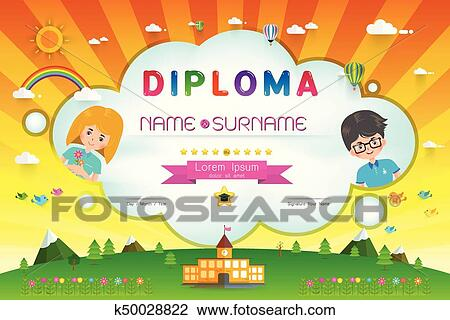 clipart of certificate kids diploma k50028822 search clip art