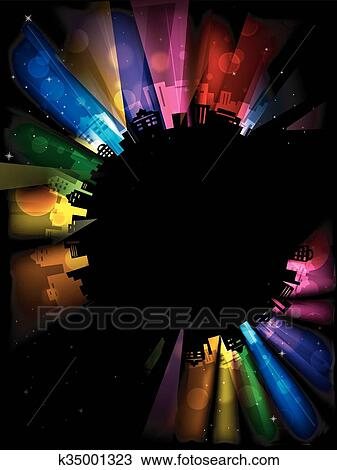 Clipart Of Colorful Party Lights City Buildings Frame K35001323