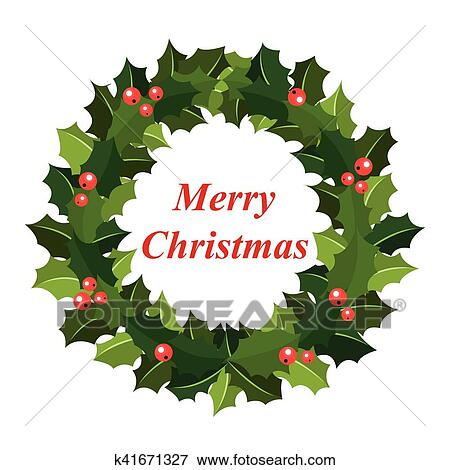 Clip Art Ghirlanda Natale Di Agrifoglio K41671327 Cerca