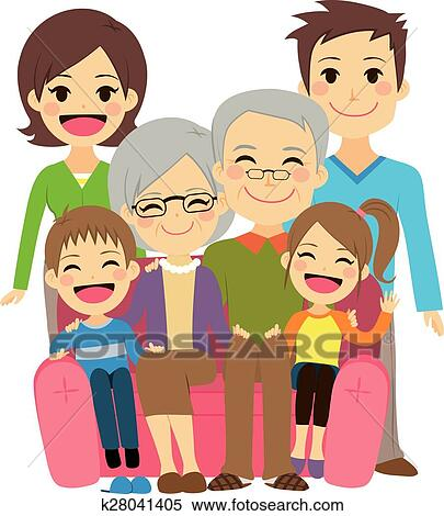 Happy Extended Family Clipart K28041405 Fotosearch