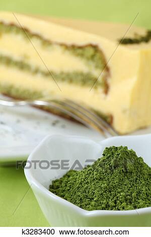 Stock Fotografie Japanische Matcha Gruner Tee Pulver Und