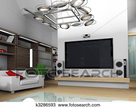 modernes appartement interieur, dessin - moderne, intérieur, de, une, appartement k3286593, Design ideen