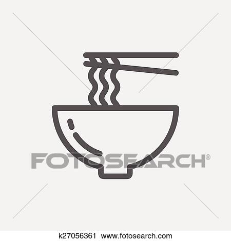 Noodles Bowl with a pair of chopsticks thin line icon ...