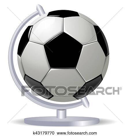 Schwarz Weiss Fussball Ball Oder Football Und Globus