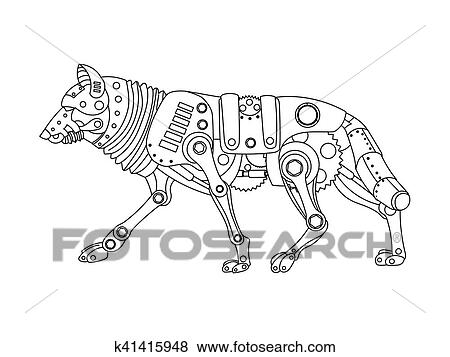 Steampunk style wolf coloring book vector Clip Art
