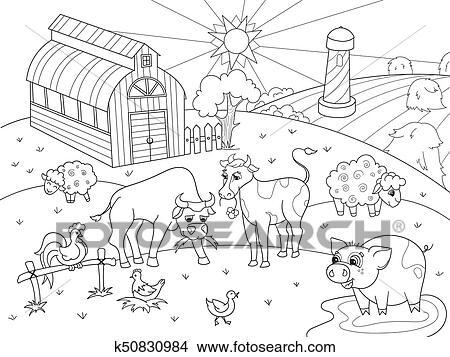 Clipart Animali Fattoria E Paesaggio Rurale Coloritura Vettore