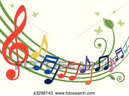 Clipart Colorido Notas Musicales K3298143 Buscar Clip Art