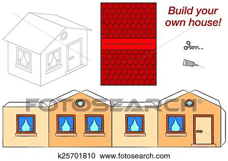 Cute House Template Clipart K25701810 Fotosearch