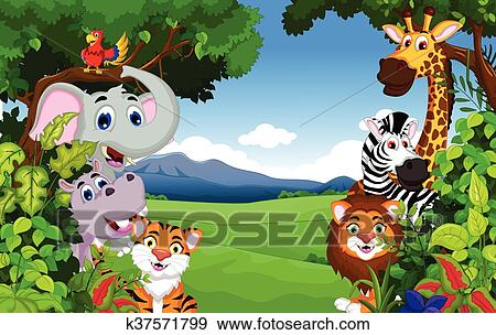 Divertente animale cartone animato con foresta clip art