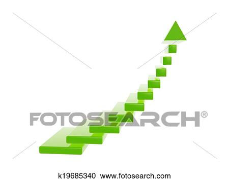 Superieur Green Stair Steps Grow Up Arrow Isolated On White Backgroud