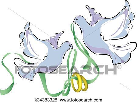 Clipart Hochzeitstauben K34383325 Suche Clip Art Illustration