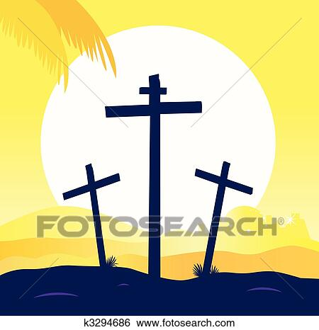 clip art of jesus crucifixion calvary scene with three crosses