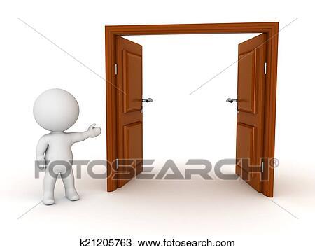 Dessin 3d caract re projection porte ouverte for Porte ouverte dessin