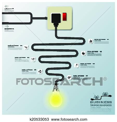 Clipart Of Light Bulb Electric Wire Line Business Infographic